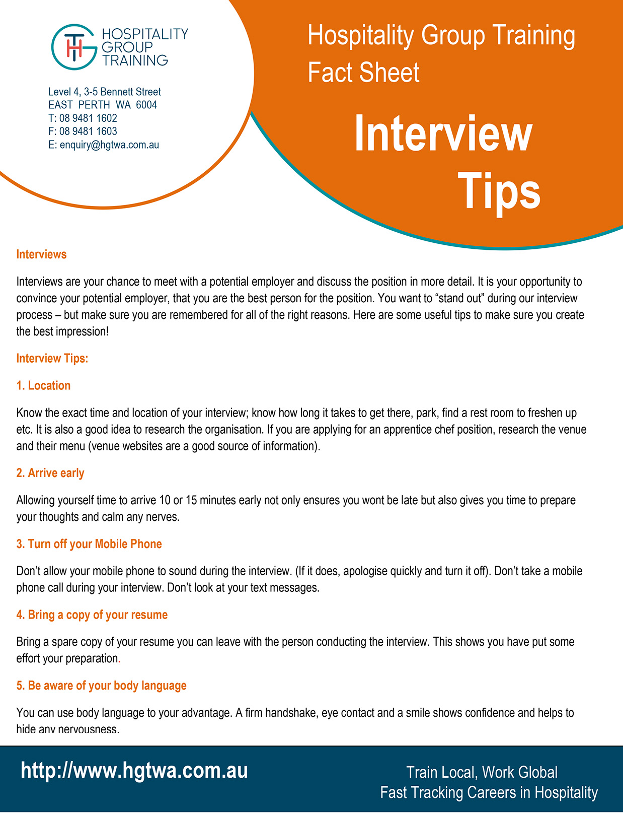 job seeker fact sheets hospitality group training interview tips 2 page guide to interview etiquette