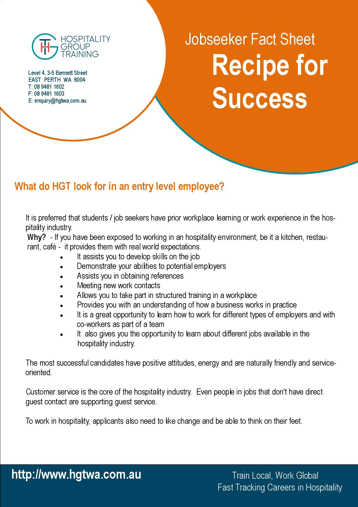 Job Seeker Fact Sheets Hospitality Group Training